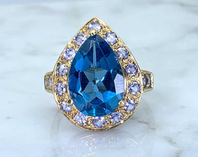 Swiss Blue Topaz Ring with Iolite Accents in a 14K Yellow Gold Setting. Vintage Cocktail Ring. November Birthstone. 4th Anniversary