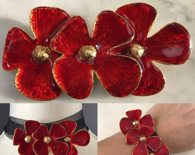 Vintage Red Poppy Brooch by Hattie Carnegie. Possible Statement Necklace or Bracelet?