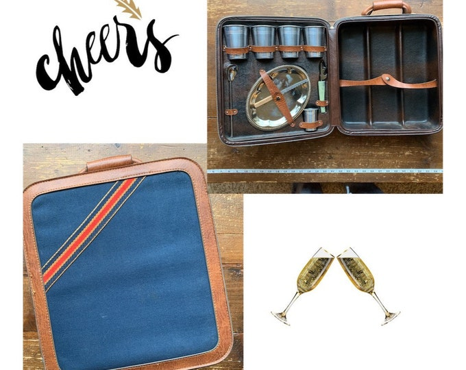 Vintage Portable Travel Bar in Denim Leather Case. With Cups and Bar Utensils. Barware.