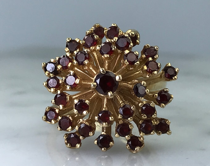 Vintage Garnet Cluster Ring. 14k Yellow Gold. Unique Engagement Ring. Statement Ring. January Birthstone. 2 Year Anniversary. Estate Jewelry