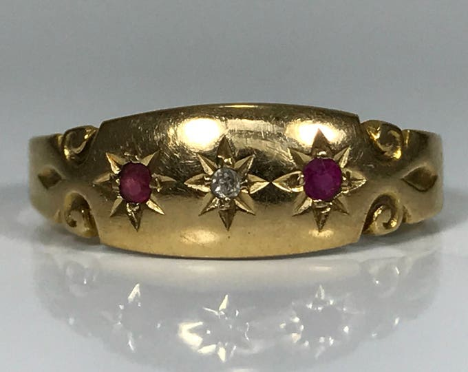 Antique Ruby and Diamond Wedding Band in a 18K Yellow Gold Setting. July Birthstone. 15th Anniversary Gift. Estate Jewelry. Circa 1901.