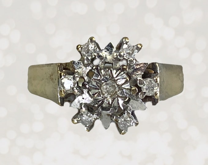1940s Diamond Cluster Ring in Yellow Gold. Unique Engagement Ring. April Birthstone. 10th Anniversary Gift. Full English Hallmark.
