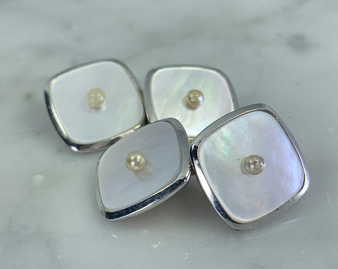 Antique Art Deco Cufflinks and Tuxedo Stud Set in Mother of Pearl. Grooms or Groomsman Gift. Sustainable Mens Accessories Circa 1920s