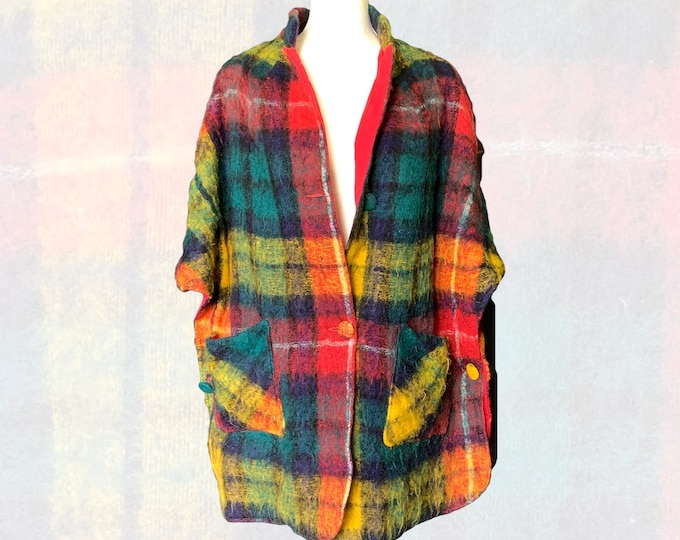 1960s Rainbow Plaid Wool Poncho or Cape by Fox Hunt. Warm Fall and Winter Outerwear. Sustainable Vintage Clothing.