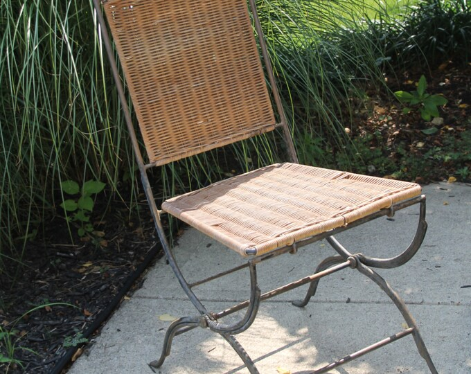 Vintage Wicker / Rattan Chair. Mid Century Modern Seating with Wrought Iron Base - Folding Apartment Furniture  ***LAYAWAY AVAILABLE***