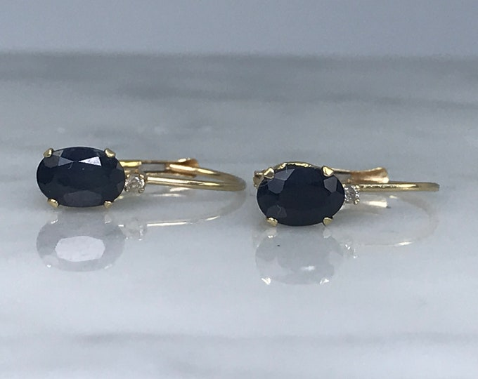 Vintage Sapphire Earrings. Diamond Accents. Drop Earrings. 14K Gold. Estate Jewelry. September Birthstone. 5th Anniversary. Wedding Jewelry