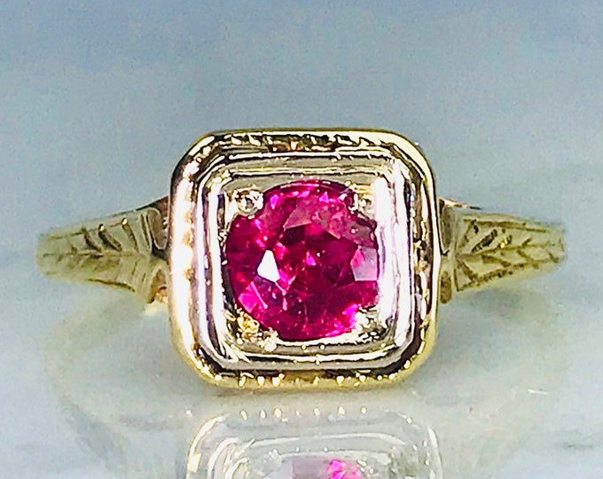 Antique Art Deco Ruby Ring in 14K Yellow Gold Setting. Unique Engagement Ring. July Birthstone. 15th Anniversary.
