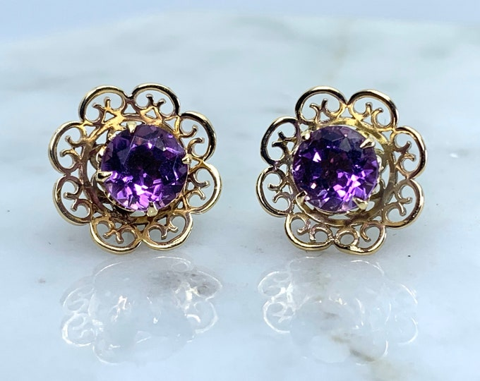 Vintage Amethyst Earrings set in a Yellow Gold Flower Setting. February Birthstone. 6th Anniversary. Wedding Jewelry.