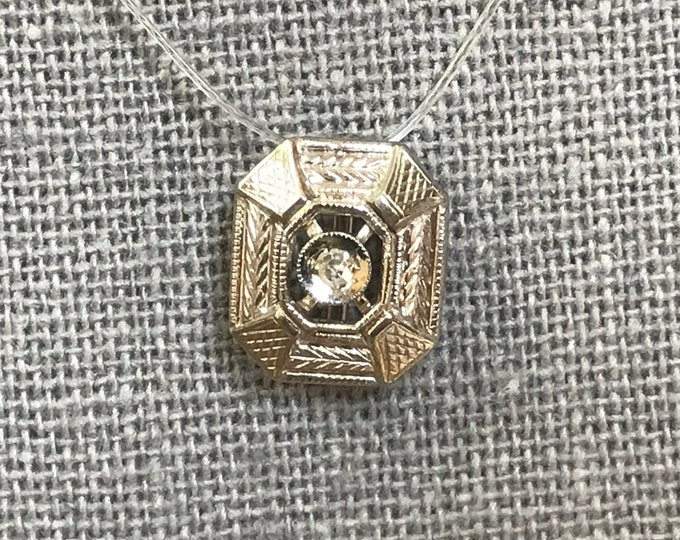 Antique Diamond Pendant. 14K Gold Filigree. April Birthstone. 10th Anniversary Gift. Estate Jewelry. Upcycled Jewelry. Recycled Hat Pin.