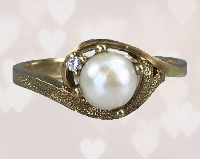 1970s Pearl Engagement Ring in 10k Yellow Gold with Diamond Accent. Vintage Sustainable Estate Jewelry. June Birthstone.