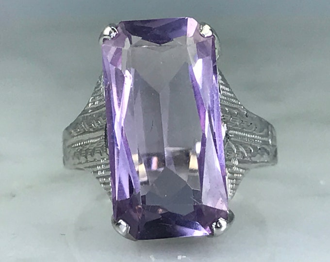 Vintage Amethyst Ring. 14K Gold Filigree Setting. 5+ Carat. Unique Engagement Ring. February Birthstone. 6th Anniversary. Estate Jewelry