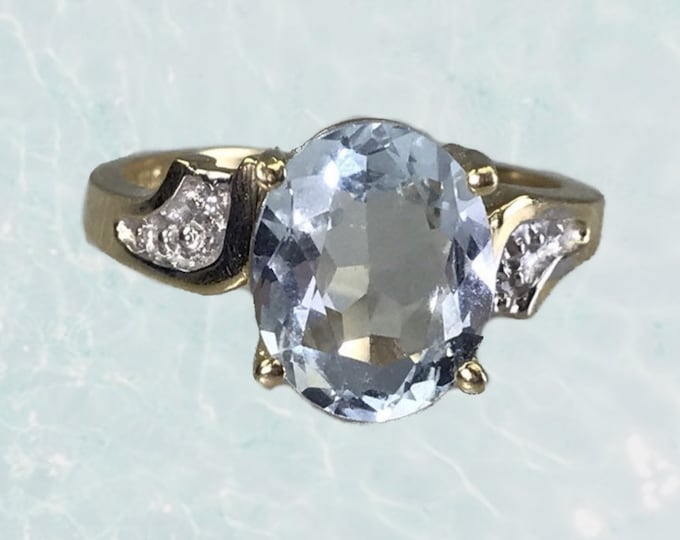 Vintage 1970s Aquamarine Diamond Ring set in 14K Yellow Gold. Unique Engagement Ring. March Birthstone. 19th Anniversary Gift.