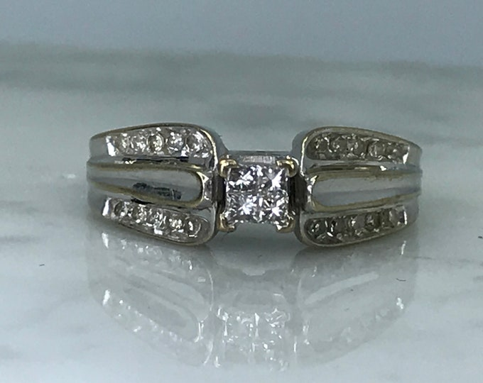 Vintage Diamond Engagement Ring in a 10K White Gold. April Birthstone. 10 Year Anniversary Stone. Estate Fine Jewelry.