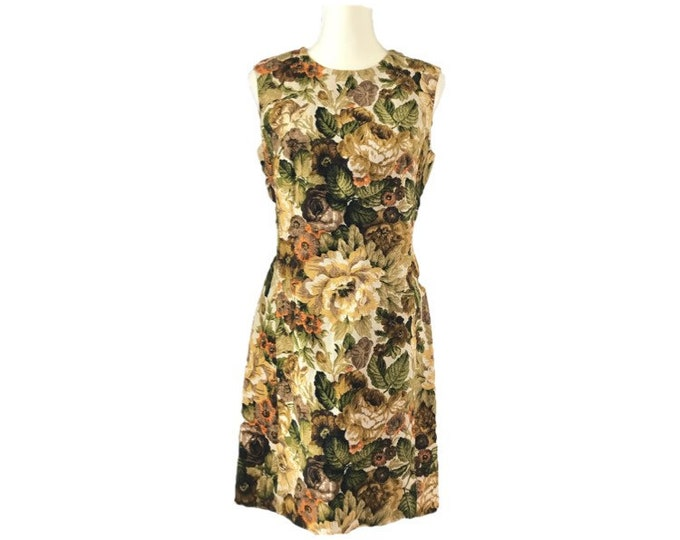 Vintage Green Floral Dress by Edith Flagg. Sheath Style in a Jacquard Fabric of Flowers in Cream, Orange and Brown. Sustainable Fall Fashion