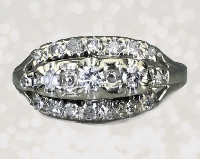 1920s Art Deco Diamond Cluster Ring in 14K White Gold. Unique Engagement Ring. April Birthstone. 10 Year Anniversary. Estate Fine Jewelry.