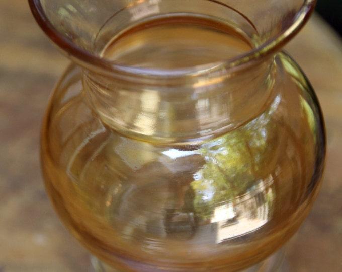 Vintage 1950 Amber Glass Bud Vase with Gold Leafing