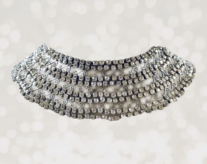 1920s Rhinestone Silver Collar Necklace with 600 Rhinestones and Lace Filigree. Wedding Jewelry.