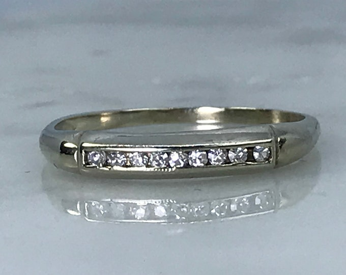 Vintage Diamond Wedding Band set in 14K White Gold. Unique Engagement Ring. April Birthstone. 10th Anniversary Gift. Diamond Stacking Ring.
