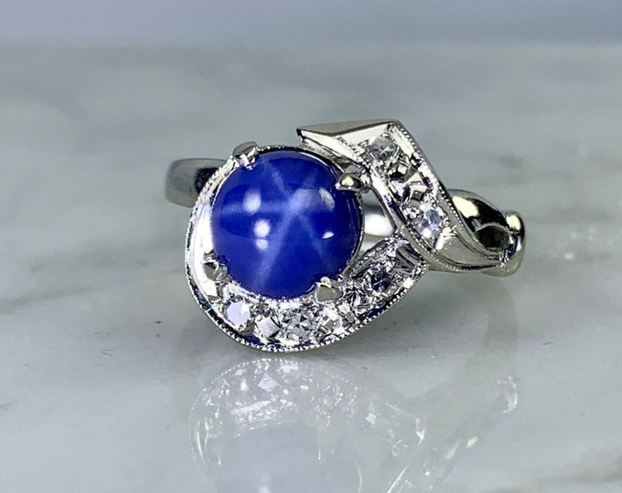Blue Star Sapphire and Diamond Ring in White Gold. Unique Engagement Ring. September Birthstone. 5th Anniversary Gift. Estate Jewelry