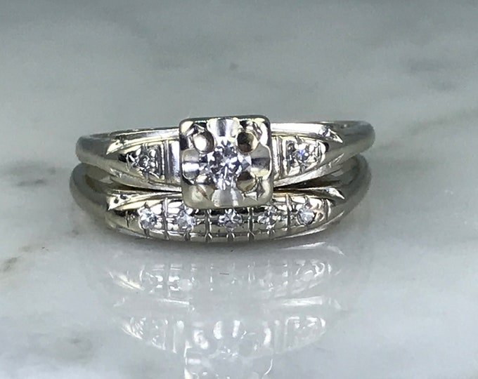 Antique Diamond Wedding Ring Set. Diamond Engagement Ring and Wedding Band in 14K White Gold. Vintage Estate Jewelry.
