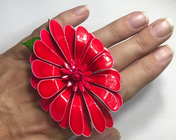 Vintage Upcycled Red Flower Ring. Floral Statement Ring. Upcycled Brooch Ring. Recycled Jewelry. Vintage Reused Ring. Reclaimed Ring