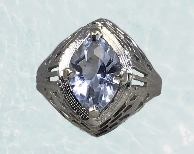 Antique 1910s Aquamarine Ring in a 10k White Gold Art Deco Filigree Setting. March Birthstone. Sustainable Estate Jewelry