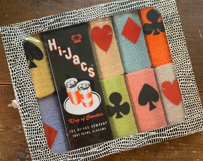Vintage 1950s Drink Cozies with Playing Card Suits Decoration. Perfect for Poker Night or a Card Party. Hearts Diamonds Spades Clubs