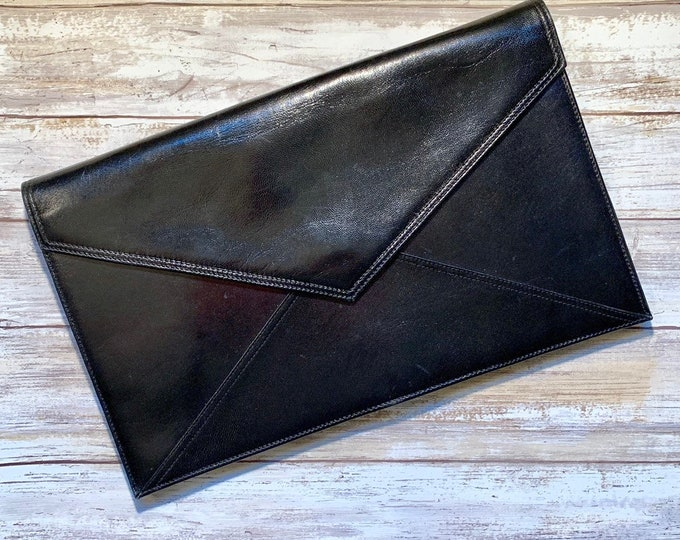 Vintage Black Leather Clutch by Mario Valentino. Large Envelope Style Handbag. Sustainable Fashion Accessories Circa 1970s. Gift for Her.