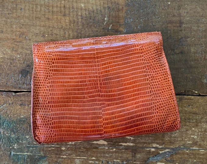 Vintage Brown Leather Clutch by Barfield & Baird. Perfect Fall Accessory in Embossed Cognac Leather.