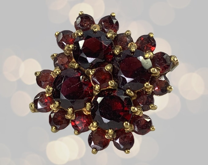 1970s Bohemian Garnet Cluster Ring in Yellow Gold. Statement Cocktail Right Hand Ring. January Birthstone. 2 Year Anniversary.