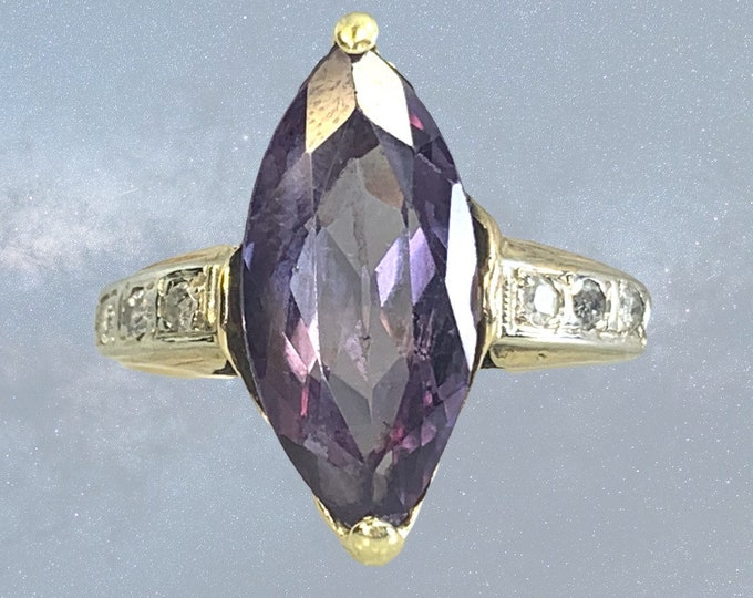 Antique Color Changing Sapphire Ring with Diamonds in a 14k Yellow Gold Setting. Stunning Engagement Ring. Estate Jewelry Circa 1910.