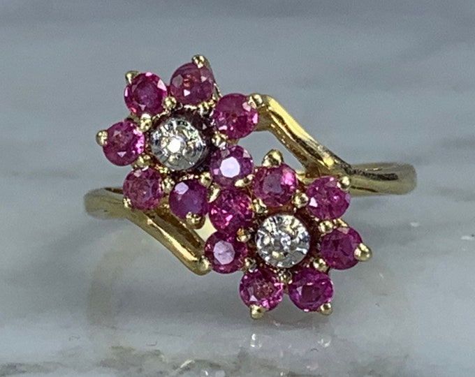 Vintage Ruby and Diamond Flower Ring in a 14K Yellow Gold Setting. Very Unique Engagement Ring!