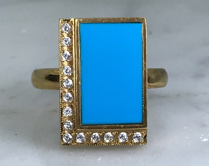 Mid Century Modern Turquoise Ring with Diamonds in 18K Yellow Gold. Unique Engagement Ring. Estate Fine Jewelry.  December Birthstone.