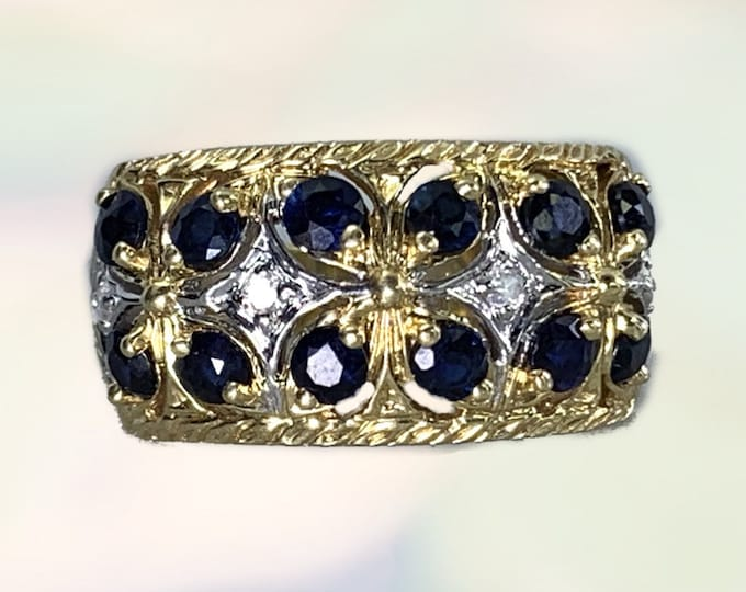 Vintage 1970s London Blue Topaz and Diamond Ring in 14k Yellow Gold. November Birthstone. Sustainable Jewelry. Unique Wedding Band.