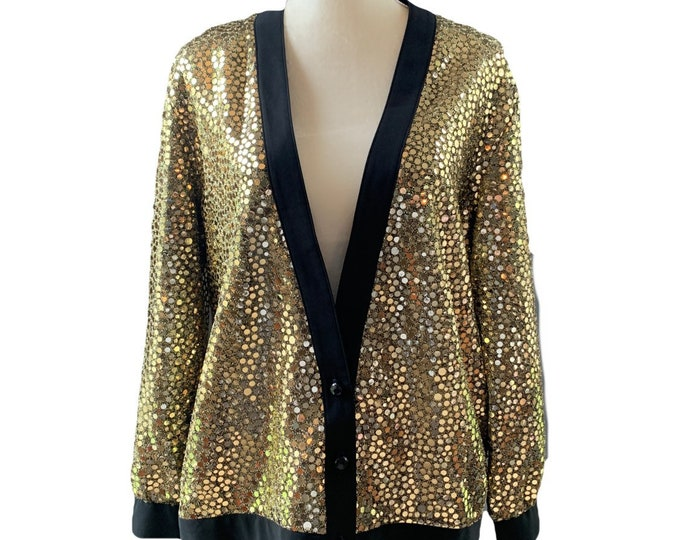 Vintage Gold Sequin Tuxedo Style Jacket by Edith Flagg's Three Flaggs. Perfect Metallic Statement Piece. Sustainable 1980s Fashion.