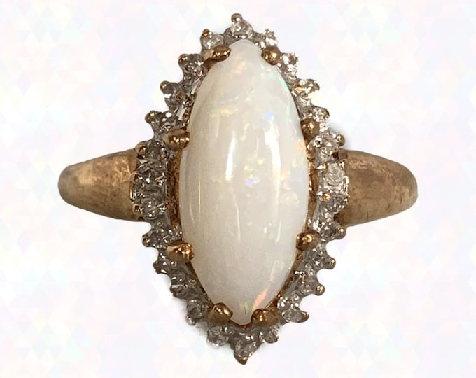 1970s Opal and Diamond Halo Ring in a 14K Yellow Gold Setting. October Birthstone. 14th Anniversary. Vintage Estate Jewelry.