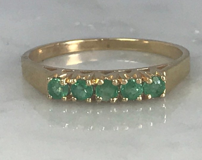 Emerald Wedding Band or Stacking Ring in 14K Yellow Gold. Estate Jewelry. May Birthstone. 20th Anniversary.