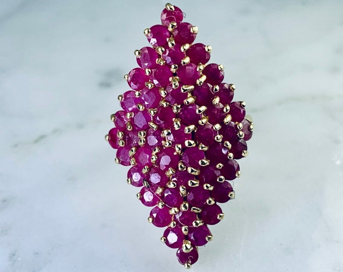 Vintage Ruby Cluster Ring set in 14K Yellow Gold. Large Statement Ring with 5+ Carats. July Birthstone. Estate Jewelry.