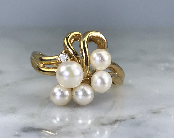 Vintage Pearl and Diamond Ring. Pearl Grape Bushel Design. 14k Yellow Gold. Estate Fine Jewelry. June Birthstone. 4th Anniversary Gift.