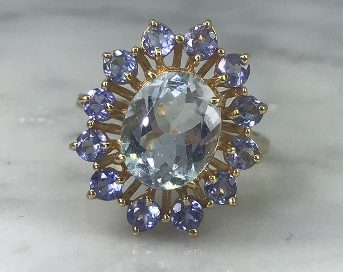 Aquamarine Ring. Iolite Accents. 10k Yellow Gold. Unique Engagement Ring. March Birthstone. 19th Anniversary. Estate Jewelry. Something Blue