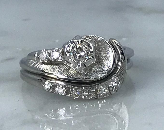 Wedding Ring Set with Diamond Engagement Ring and Wedding Band. 14K White Gold Setting. Estate Jewelry. Bridal Set