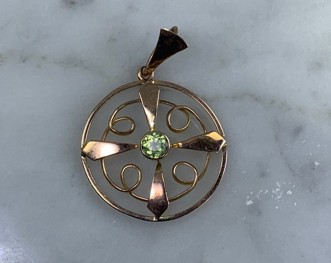 Vintage Peridot Pendant in Rose Gold. This August Birthstone is the Perfect Gift the Leo in your Life.