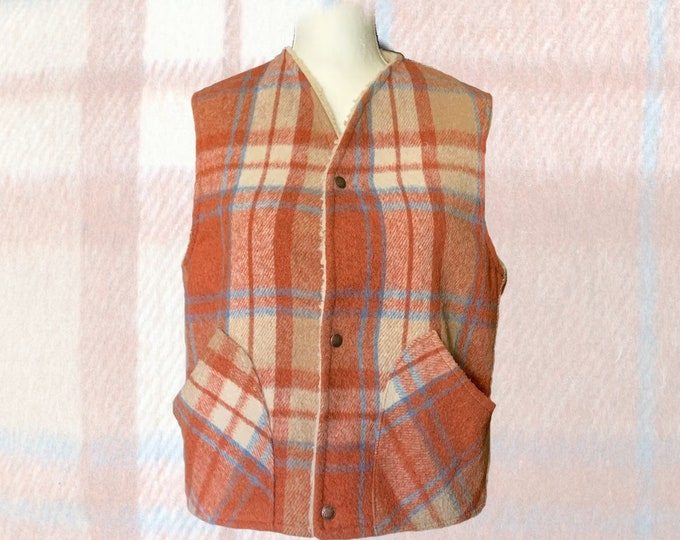 1950s Orange and Blue Plaid Wool Vest by Fleetwood Sportswear. Sherpa Lined Warm Outerwear. Equestrian Chic.