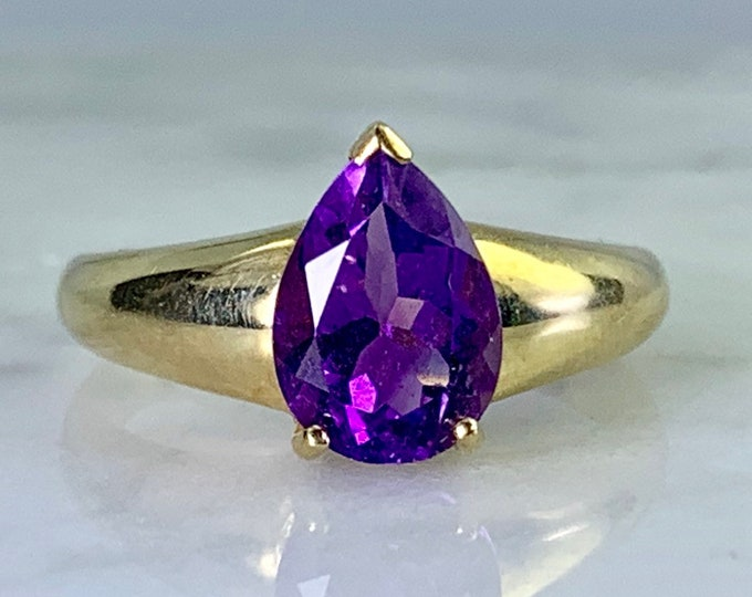 Amethyst Ring in a 9K Yellow Gold Solitaire Setting. Unique Engagement Ring. February Birthstone. 6th Anniversary.