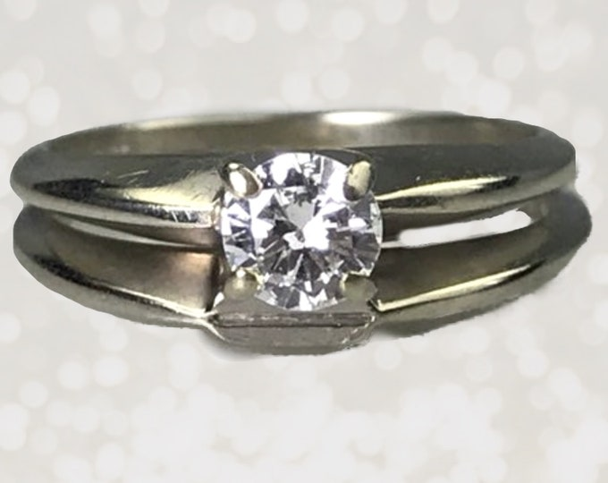 1940s Diamond Engagement Ring and Gold Wedding Band Set. 14K White Gold Bridal Set. Vintage Sustainable Estate Jewelry.