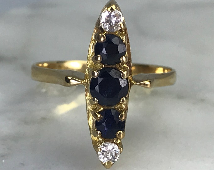 Sapphire Diamond Ring. 14K Yellow Gold Setting. Unique Engagement Ring. September Birthstone. 5th Anniversary. Estate Jewelry. Vintage Ring.