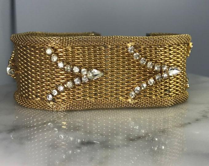 Art Deco Rhinestone Gold Tone Bracelet by Hattie Carnegie. Perfect Wedding Day Jewelry!