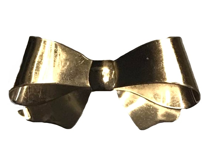 Vintage 1960s Bow Brooch by Coro. Gold Tone Pin Also Perfect for a Statement Necklace or Bracelet? Costume Jewelry.