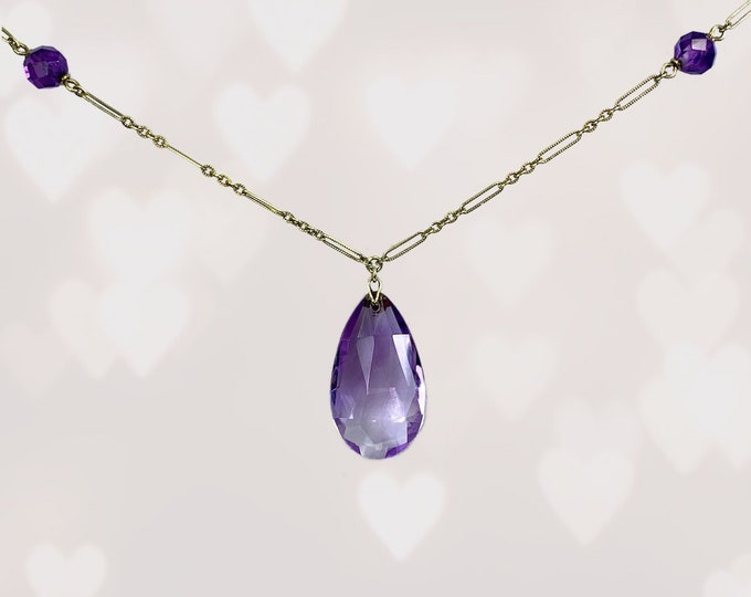 1900s Antique Amethyst Necklace with Drop Pendant and Beads set in 14K Rose Gold. February Birthstone. 6th Anniversary. Estate Jewelry.