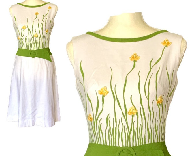 1960s White Linen Dress with a Yellow and Green Floral Design from Cover Girl Miami. Perfect for Special Occasions!
